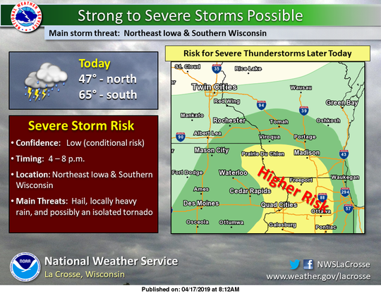 Southern portions of Wisconsin face a threat of severe storms later today, especially south and west of Milwaukee.
