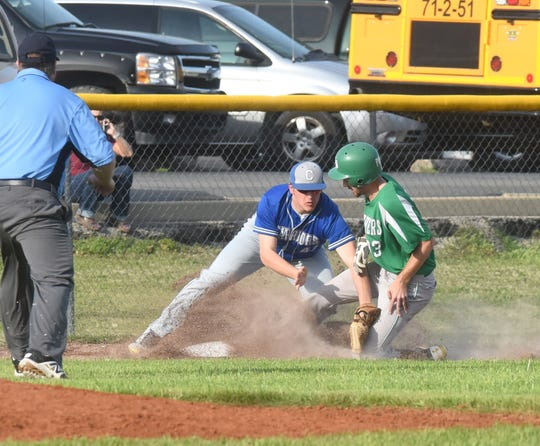 Cotter's Jarod Dewey puts a tag on Yellville-Summit's Nash Dowden on Tuesday.