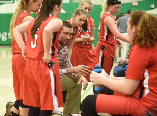 Norfork coach Josh Laymon instructs players during a timeout earlier this season at Valley Springs.