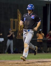 Louisiana Tech's Mason Mallard (5) crosses home plate to give Tech a 3-0 lead in the top of the 8th during the game against University of Louisiana at Monroe at Warhawk Field on April 16. Tech would blank ULM 5-0.