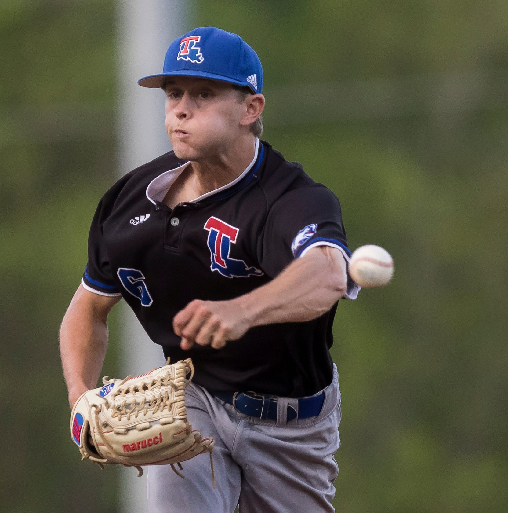 Louisiana Tech's Kyle Griffen (6) releases a pitch during the game against University of Louisiana at Monroe at Warhawk Field on April 16. Tech would blank ULM 5-0.