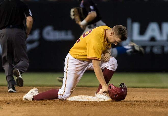 ULM's Blake Buckman (22) drove in a career-high four runs and Chad Bell hit two solo home runs to lead Louisiana-Monroe to a 14-6 victory over Troy in Game 2 as the Warhawks earned a split in Saturday's (May 11) doubleheader at Riddle-Pace Field.
