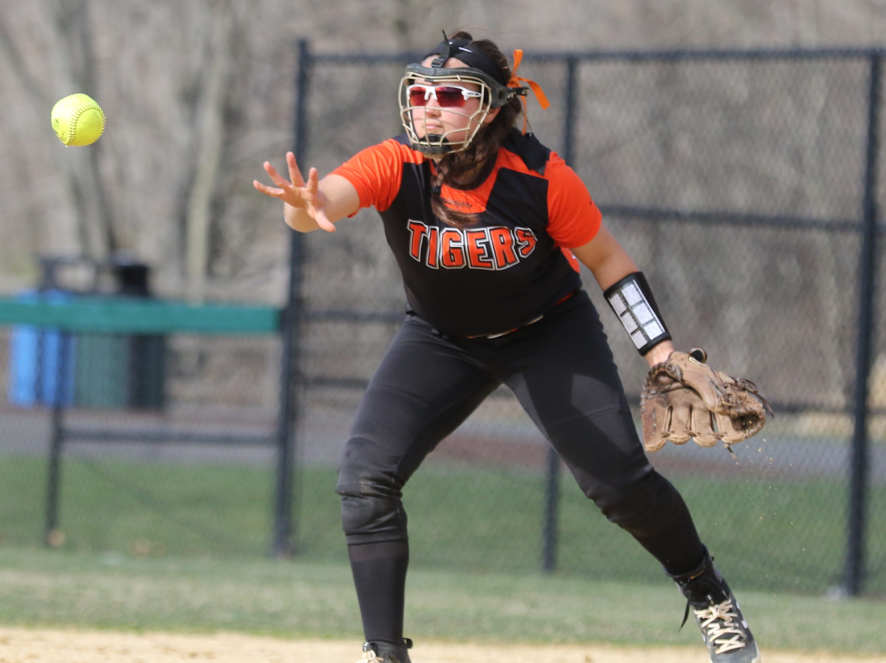 Hackettstown second baseman Lena Lutcza makes a play to get the out at second.