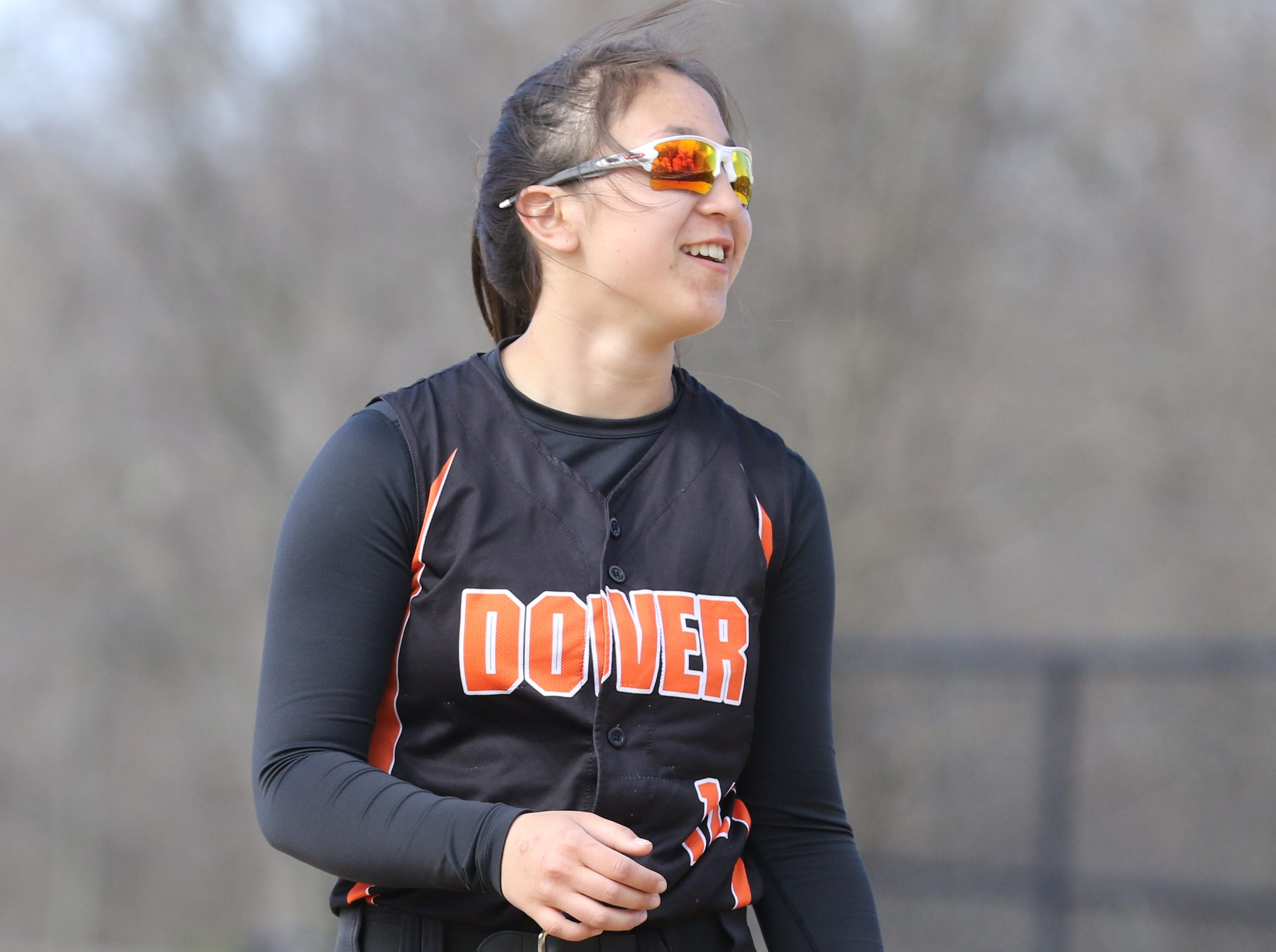 Brianna Koo at shortstop for Dover.