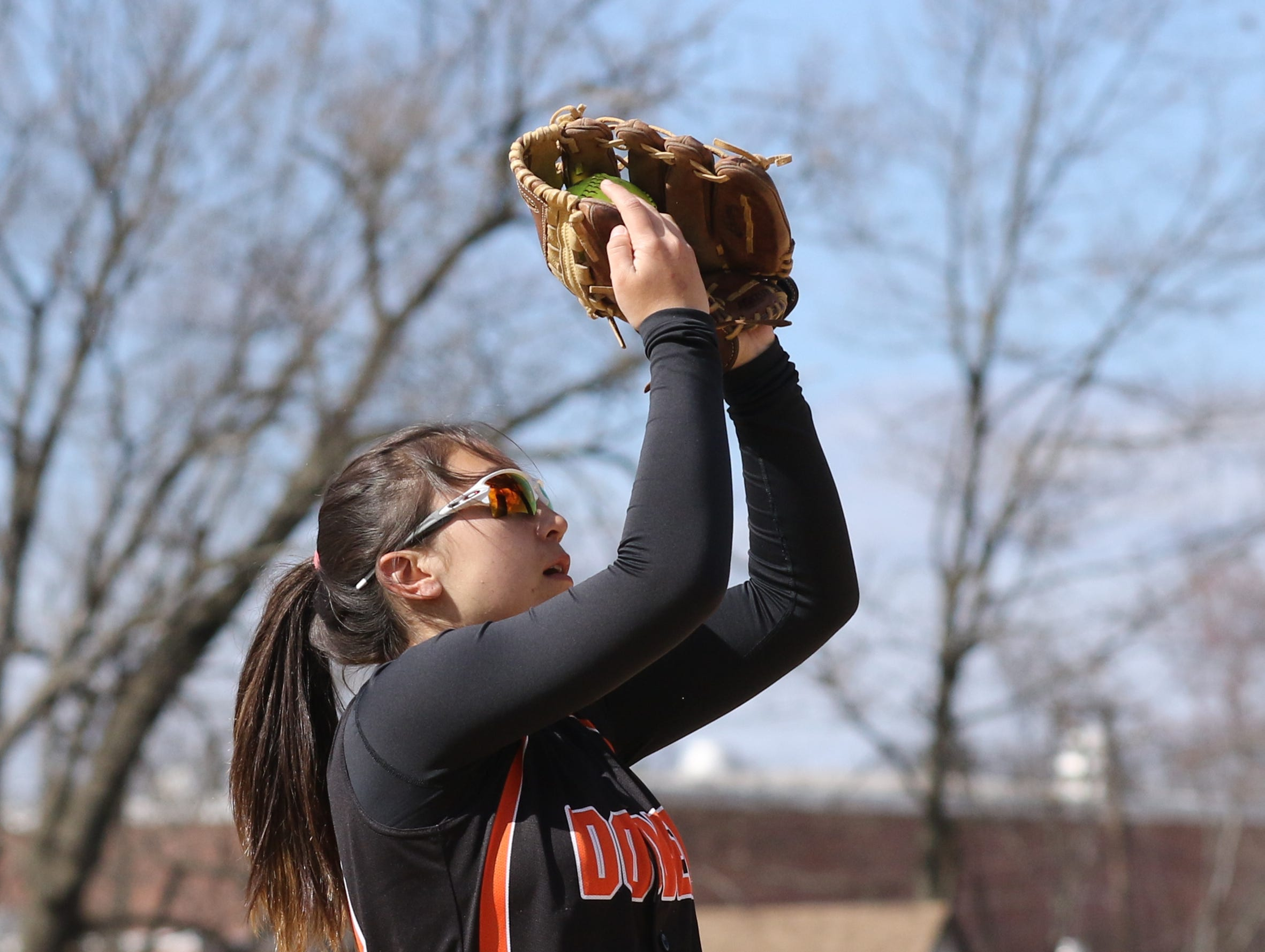 Dover senior Brianna Koo makes the play at shortstop to get the first out against Hackettstown Tuesday.
