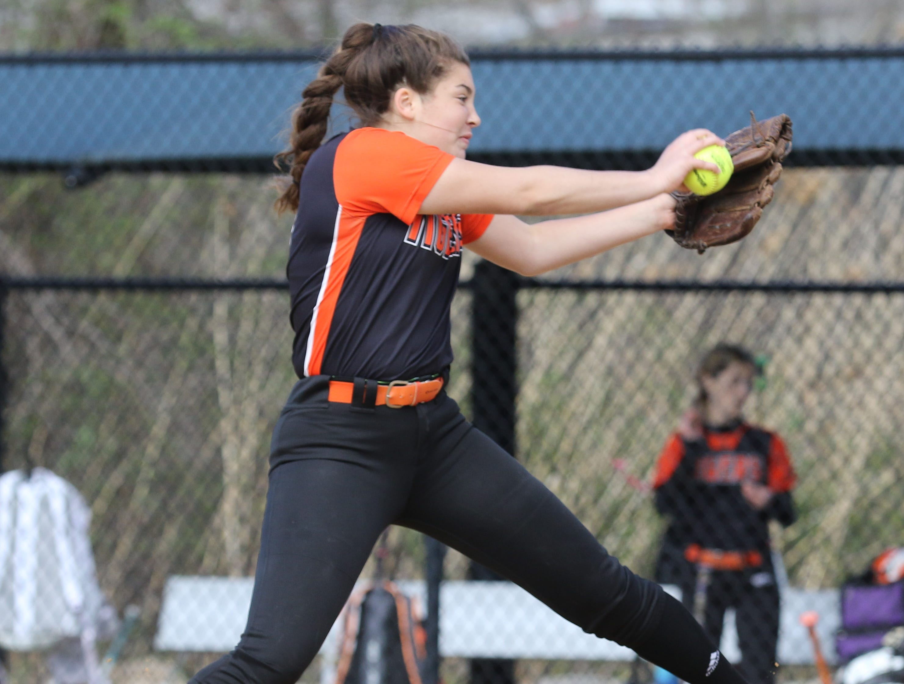 Hackettstown pitcher Andrea McMahon in her wind up in the second inning.