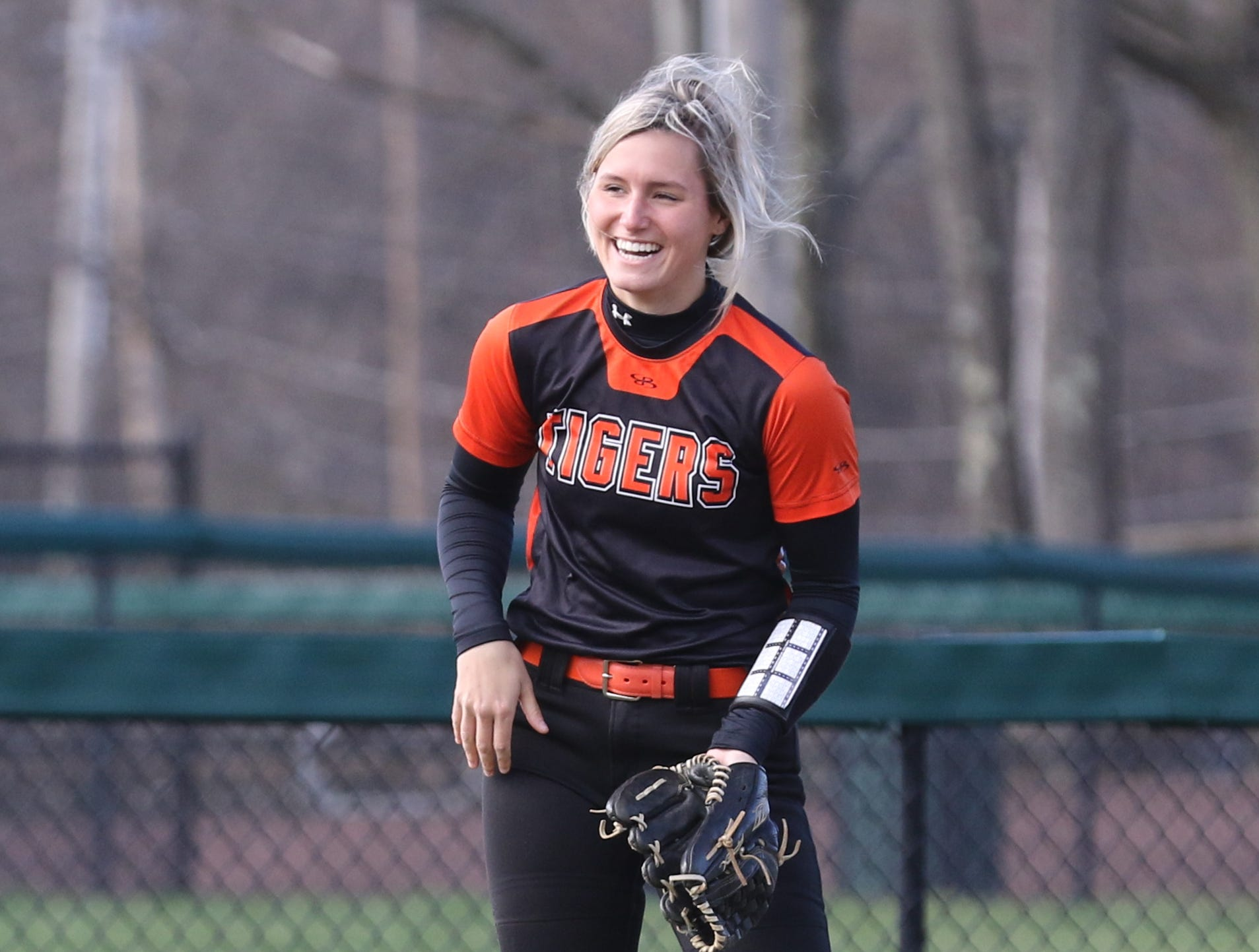 Hackettstown centerfielder Molly O'Brien after making a catch to get a double play at first base.
