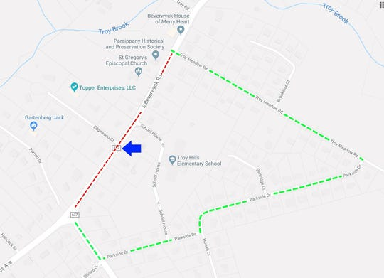 Police detour map for closure of South Beverwyck Road in Parsippany due to a water-main break. April 17, 2019