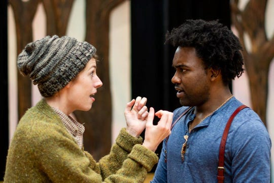 "Katrina Clark, left, as Rosalind, and Tyshon Boone, who plays Orlando and Forester in ""As You Like It."""