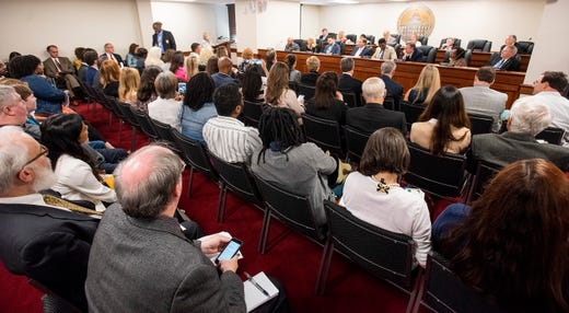 A public hearing is held for HB314, the abortion ban bill, at the Alabama Statehouse in Montgomery, Ala., on Wednesday April 17, 2019.