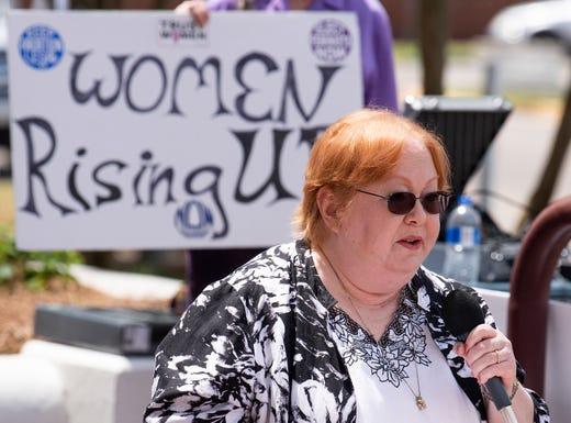 Elizabeth Potter Graham speaks during a protest against HB314, the abortion ban bill, at the Alabama Statehouse in Montgomery, Ala., on Wednesday April 17, 2019.