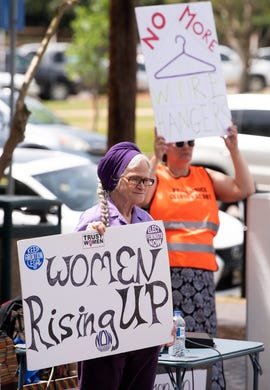 A protest against HB314, the abortion ban bill, is held at the Alabama Statehouse in Montgomery, Ala., on Wednesday April 17, 2019.