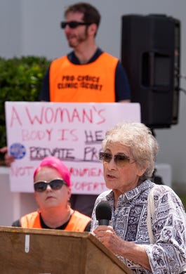 Pat Harris speaks during a protest against HB314, the abortion ban bill, at the Alabama Statehouse in Montgomery, Ala., on Wednesday April 17, 2019.