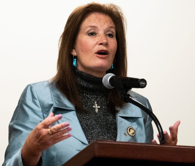 Rep. Terri Collins introduces her HB 314 during a public hearing, before the house health committee, on the abortion legislation bill at the Alabama Statehouse in Montgomery, Ala., on Wednesday April 17, 2019.