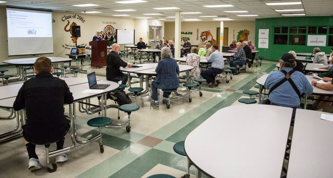 Residents attend an open hearing with INDOT at Yorktown High School on April 16 over a controversial J-turn proposal for Ind. 332 and Delaware County Road 600-W.
