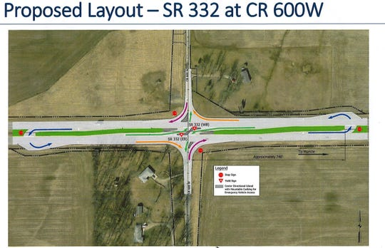 An illustration of what the layout would be on 332 with the new J-turn proposal.