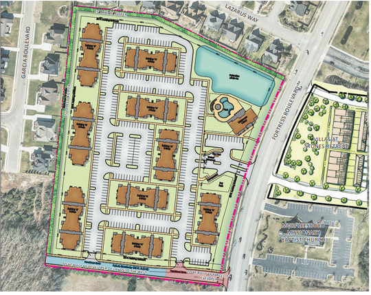 This rendering shows plans for 176 Victory Station Apartments off Fortress Boulevard near Blackman schools.