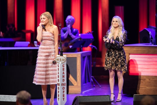 Kelsea Ballerini got emotional when Carrie Underwood inducted her into the Grand Ole Opry Tuesday night in Nashville.