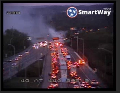 Interstate 40 eastbound is closed in Nashville as crews respond to a vehicle fire near the Jefferson Street exit.