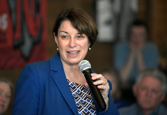 U.S. Sen. Amy Klobuchar speaks to people at Edley's Bar-B-Que in east Nashville on Wednesday, April 17, 2019.