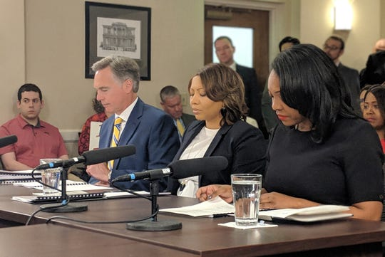 Metro public school's Interim Superintendent Adrienne Battle, middle, conducts her first budget hearing with the mayor. She is flanked by COO Chris Henson and Vice Chair Christiane Buggs.