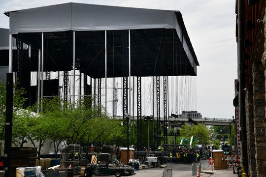 Construction continues on the NFL Draft stage at the intersection of Broadway and 1st Ave.  Wednesday, April 17, 2019 in Nashville, Tenn.