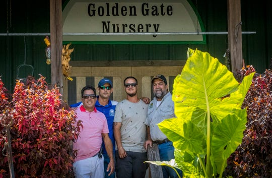 Golden Gate Nursery, a family owned and operated business running in Naples for more than 30 years. The Nursery was small at the beginning. Thursday, April 11, 2019. (left)Rufino Hernandez owns the nursery along with his brother (right)George Hernandez Sr, and J.J. Hernandez Jr., George's son (center, right). Second cousin, Victor Echemendia, (back, left) works at the business as well. The nursery is more than 30 years old and was opened by Cuban-American couple Ruben and Rosa Hernandez.