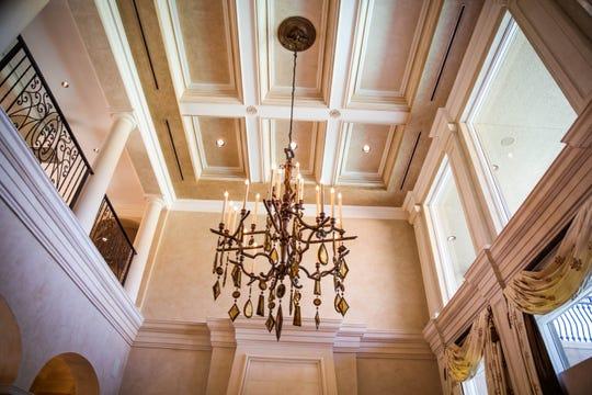 A chandelier in the living room of the estate for sale in Estero on Wednesday, April 17, 2019. The home, owned by Vince and Joanne Galifi of Toronto, is listed for $3.595 million.