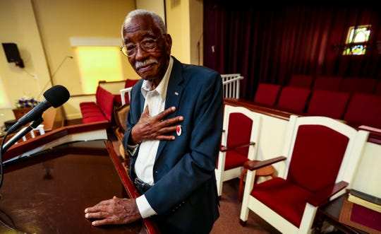 Pastor James Bing, Fort Myers, collapsed just as he was going to give his Sunday sermon. He had no pulse and wasn't breathing on October 21, 2019. His entire church, Friendship Missionary Baptist Church in Fort Myers, began praying for him. After he arrived at the hospital, he was breathing again. He stands in the spot he was preaching from that day. April 17, 2018.