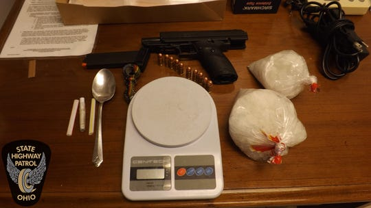 The Ohio State Highway Patrol said on April 6, troopers seized a loaded handgun and more than a pound of methamphetamine from a vehicle during a traffic stop in Licking County.
