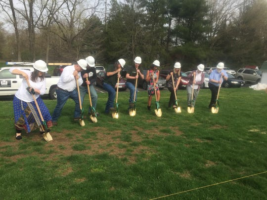 School administrators, teachers, contractors and students broke ground for the new Welsh Hills High School on April 17.