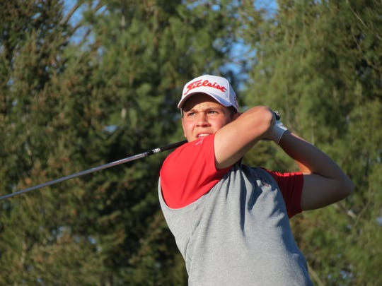 Leo Turi, shown here at last week's FDU Invitational, helped Bergen Catholic golf coach Jim Jacobsen earn his 1,100th career victory, at Ridgewood Country Club in Paramus on Wednesday, April 17, 2019.