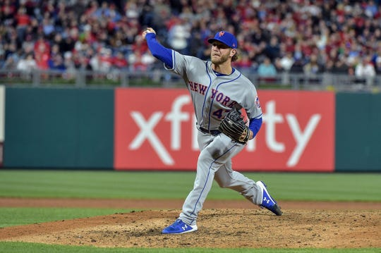 Apr 16, 2019; Philadelphia, PA, USA; New York Mets starting pitcher Drew Gagnon (47) pitches during the sixth inning of the game against the Philadelphia Phillies at Citizens Bank Park. The Phillies won 14-3.