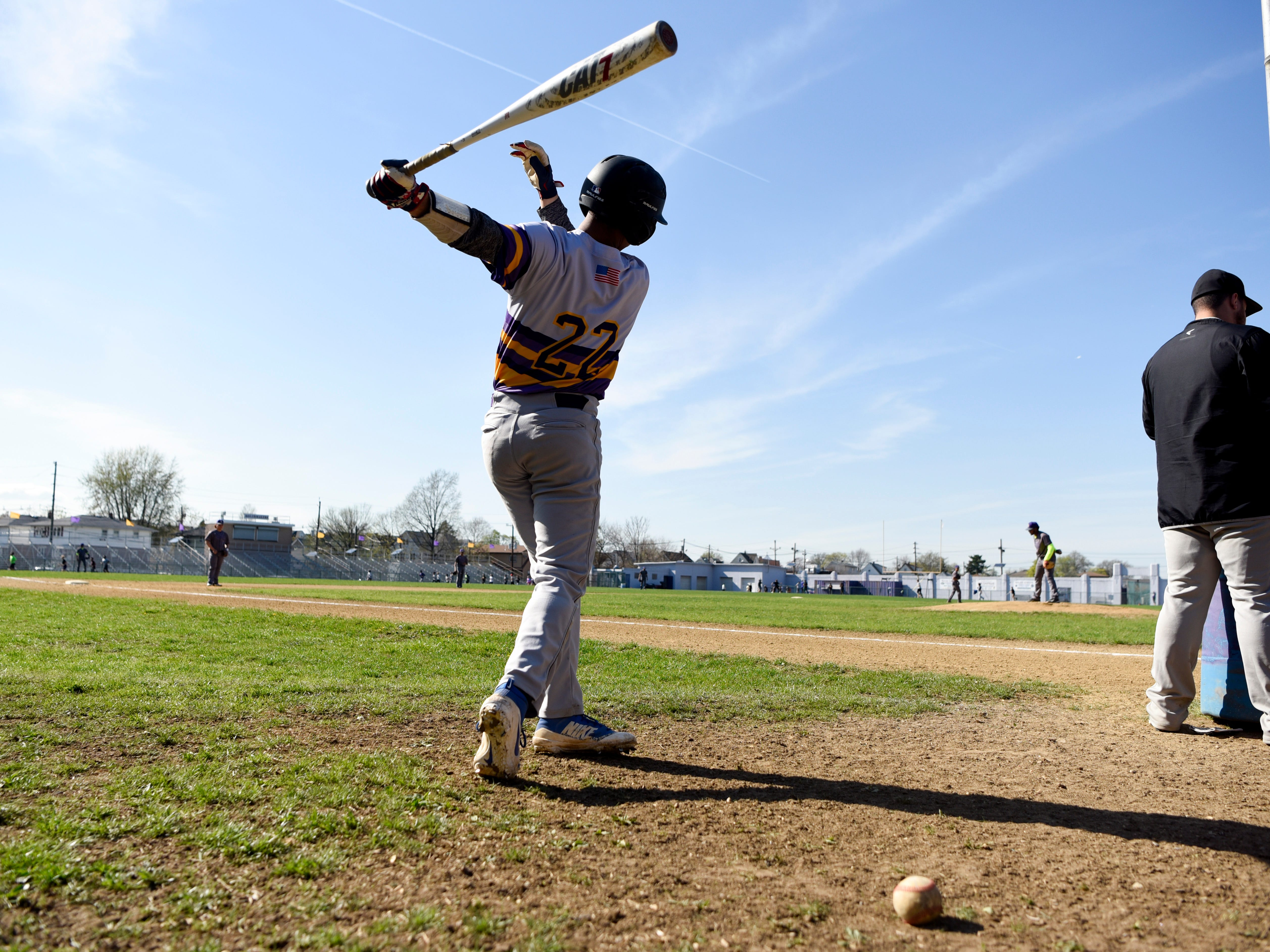 Bogota's Jose Marte warms up in the batter's box before facing Garfield on Wednesday, April 17, 2019, in Garfield.