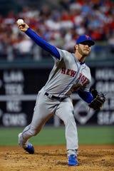 New York Mets' Drew Gagnon pitches  against the Philadelphia Phillies, Tuesday, April 16, 2019, in Philadelphia.