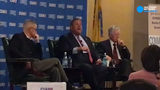 Former Gov. Chris Christie defends his use of tax credits during a forum in Woodbridge, NJ on April 17, 2019.