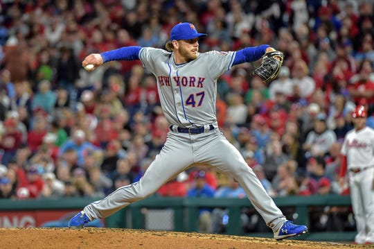 Apr 16, 2019; Philadelphia, PA, USA; New York Mets pitcher Drew Gagnon (47) pitches during the fourth inning of the game against the Philadelphia Phillies at Citizens Bank Park. The Phillies won 14-3.