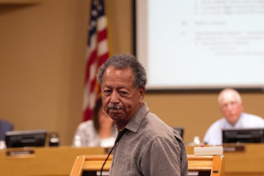 Las Cruces Transportation Federation head Marcos Torres spoke about summer temperatures on school buses during a school board meeting on Tuesday, April 16, 2019.