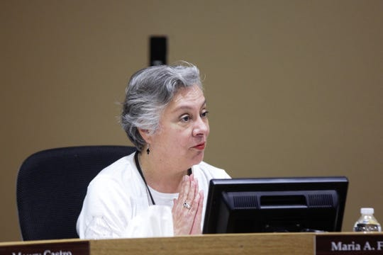Las Cruces school board member Maria Flores addresses a student presenter at the school board's Tuesday, April 16, 2019 meeting.