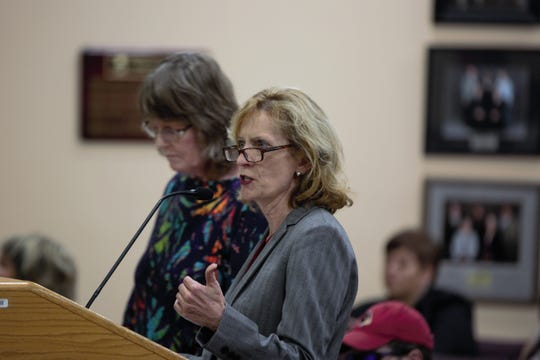 Attorney CaraLyn Banks accused the Las Cruces Public Schools of violations of the law and criticized Superintendent Greg Ewing during the Board of Education meeting on Tuesday, April 16, 2019.