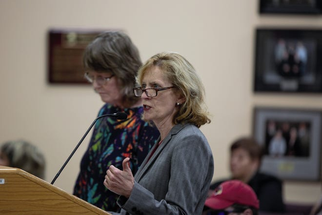 Kathy Norris, left, appeared with Attorney CaraLyn Banks at a Board of Education meeting at the Las Cruces Public Schools administration building on Tuesday, April 16, 2019.