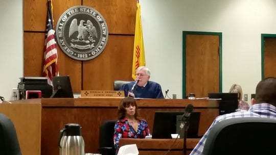 Third Judicial District Court Judge Doug Driggers talks with the jury at the end of a three-day trial in which Las Crucen Fernando Puga had been facing criminal charges, including attempted murder. Puga was exonerated on Wednesday, April 17, 2019.