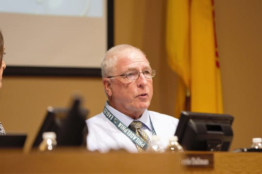 Las Cruces school board President Ed Frank had kind remarks for the administration on its transparency and explanation of the budget process at the board meeting on Tuesday, April 16, 2019.