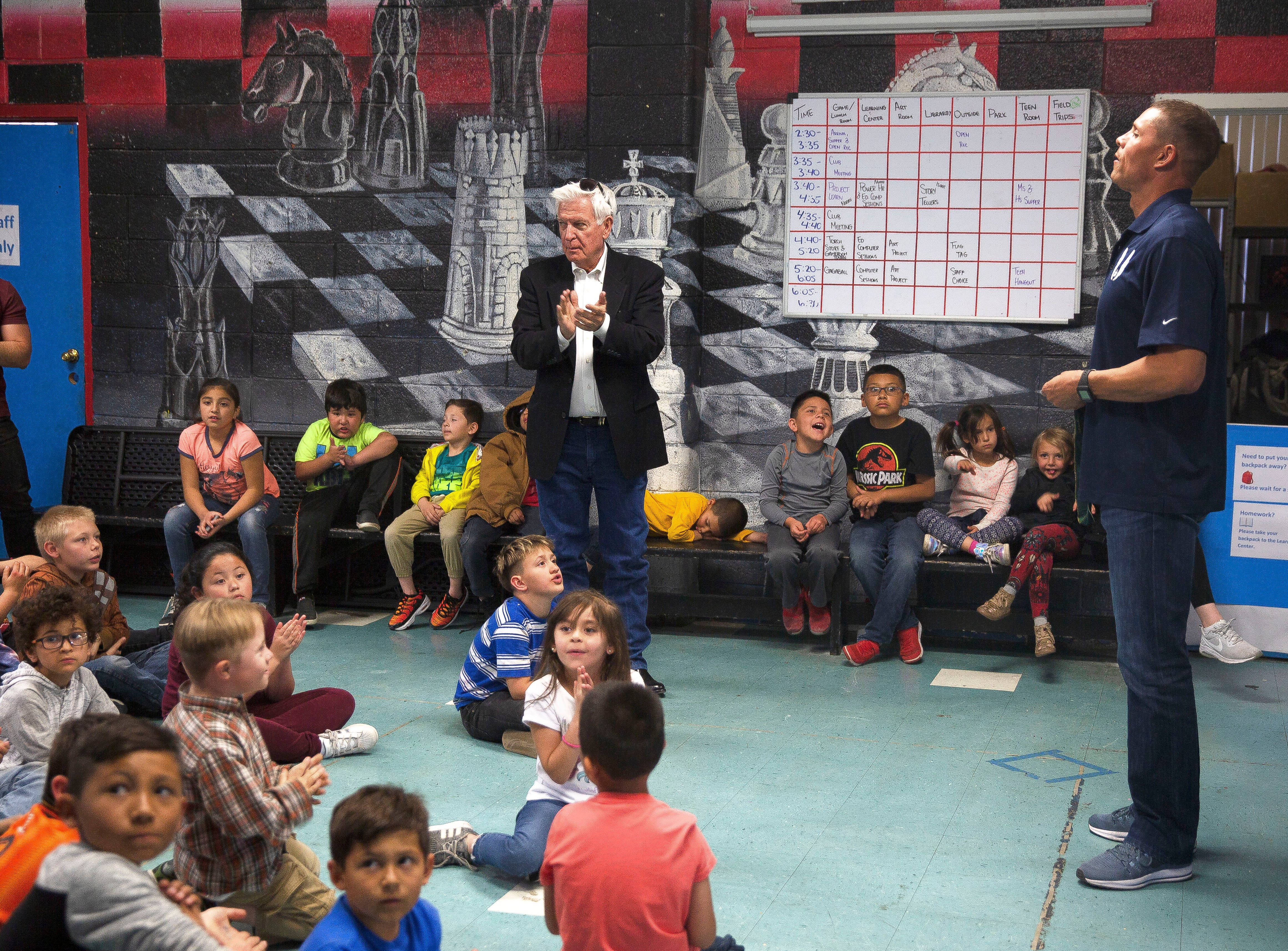 Olympic gold medalist Dan O'Brien speaks to children at the Las Cruces Boys and Girl's Club Wednesday, April 17, 2019.