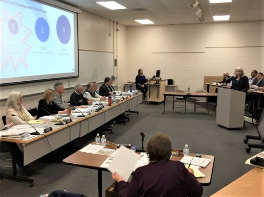 Northville planning consultant Sally Elmiger delivers a presentation during the April 16 Planning Commission meeting.