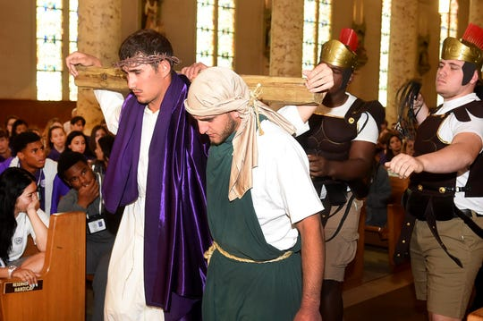 Opelousas Catholic seniors perform the Passion of Christ at St. Landry Catholic Church in observance of Holy Week.