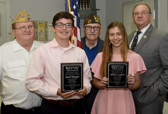 Opelousas Catholic students Ellie LaFleur and Jacob Vazquez were the overall winners in the Veterans of Foreign Wars Post 2483 Americanism Program.