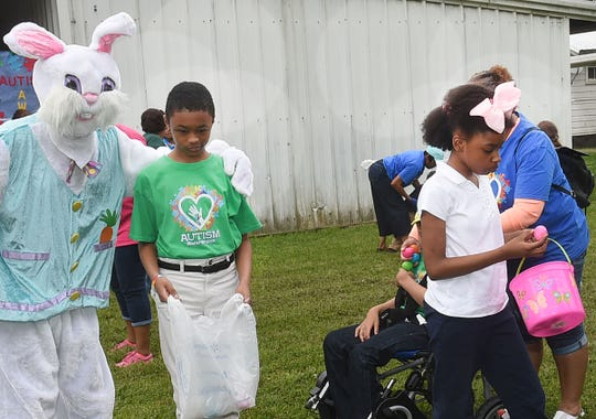 Grolee Elementary stages an Easter egg hunt in observance of Autism Awareness Month.