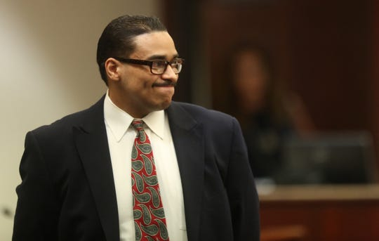 "The trial of John Hernandez Felix, who faces the death penalty in the 2016 shooting deaths of Palm Springs police officers Jose Gilbert ""Gil"" Vega and Lesley Zerebny, continues on May 1, 2019, when his defense began. He is photographed here during a break in the proceedings on April 17, 2019."