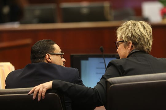 "John Hernandez Felix speaks to his attorney on April 17, 2019, at the start of his trial in the 2016 shooting deaths of Palm Springs police officers Jose Gilbert ""Gil"" Vega and Lesley Zerebny. The trial continues on May 1, 2019, when his defense began. If convicted, Felix faces the death penalty."